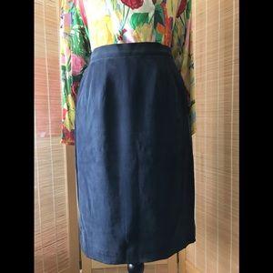 August Silk navy blue silk skirt, size 8